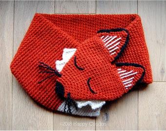 CROCHET PATTERN - Sleepy fox neck warmer