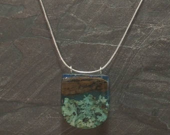 Deiftwood and Resin Pendant with sterling silver chain