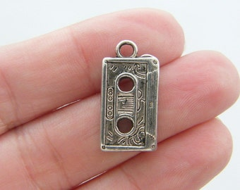 6 Tape cassette charms antique silver tone MN32