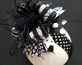 Black & White Over The Top Hairbow Hair Clip Headband Feather