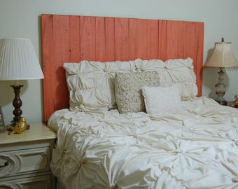 Coral Weathered Look - King Hanger Headboard with Vertical Boards. Mounts on wall. Adjust height to your convenience. Easy installation.