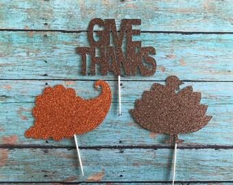 Thanksgiving Cupcake Toppers, Turkey Cupcake Topper, Pumpkin Cupcake Topper, cornucopia cupcake topper, Thanksgiving Food Pick, Thanksgiving
