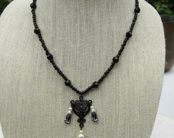 Black Heart with Pearls on Black Bead Chain