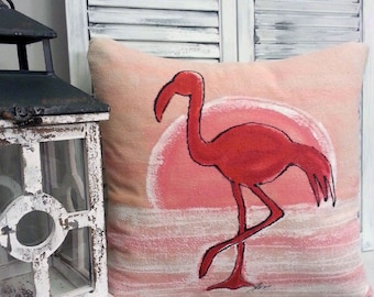 Pink Flamingo, Sunset, Nautical, Cottage, Beach, Patio, Indoor/Outdoor, Hand-painted, No. 186