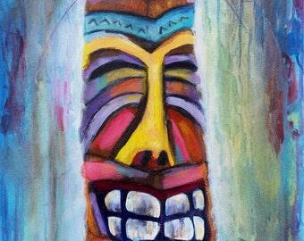 Tiki, summer art, impressionistic paintings, tiki print, original artwork painting beach art canvas print impressionistic artists, colorful