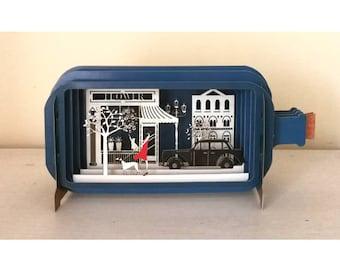 Shopping Girl, Girl card, Teenage Card, Laser Cut card, Pop Out Card, Message in a Bottle, Gift Card, 3D, 3D Gift Card, Handmade Card