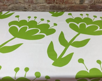 Tablecloth white with large green flowers,modern tablecloth, Scandinavian design,mothers day gift