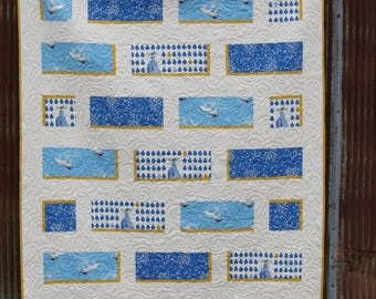 Quilt Throw Sized Modern CHARLEY HARPER Maritime Scenes Featuring Seagulls, Dolphins, Crabs & Fish in Blues and Gold