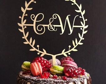 Wedding Cake Topper FN18 Custom Personalized Bride and Groom Initials Cake Topper Boho Cake Topper Gold Cake Topper Wood Wedding Cake Topper