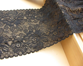 """Off white Plum flower  wedding lace,Stretch Lace Trim - Extra Wide Lace Trim, 7"""" Wide Lace Trim- off white lace"""