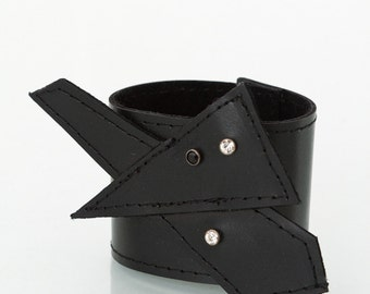 Black leather cuff,leather bracelet, swarovski crystals,goth,steampunk,crystal cuff geometric cuff, gift for her,statment jewelry,futuristic