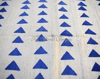 Hand crafted/ African mud cloth/ Mud cloth fabric/ White/blue background/ made in Africa/ Bogolan/ African cloth/ Hand woven,  MC197