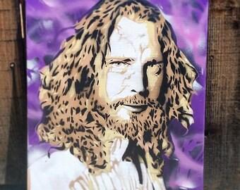 CHRIS CORNELL Rest in Peace Soundgarden spray paint stencil portrait on CANVAS