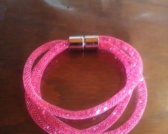 bracelet resile trois rang rose