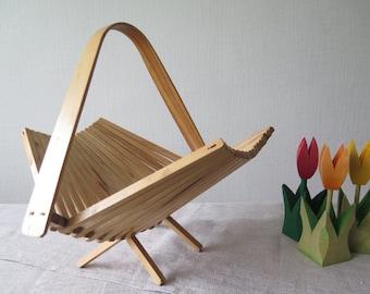 Vintage Foldable Wood Basket Collapsible Basket USSR Kitchen Storage Basket, Fruit Basket Wood Fruit Bowl @206