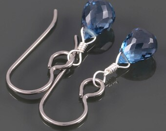 London Blue Topaz Earrings. Titanium Ear Wires. Genuine Gemstone. December Birthstone. Something Blue. s16e034