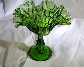 Green Vintage Fenton Double Crimped Compote
