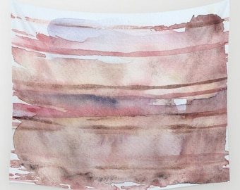 """Wall tapestry with fine art print. Abstract watercolor painting in earth tones, blush pink, beige, indigo, violet, caramel. """"Elusive Strata"""""""