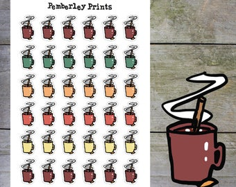Hot Drinks // Hot Drink of Tea/Coffee/Hot Chocolate Hand Drawn Mug Planner Stickers in Autumn Colours // HD1