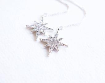 Earrings, Threader Earrings, Star Earrings, Starburst Earrings, Silver Earrings, Long Earrings, Crystal Earrings, Gift for Her, Gift