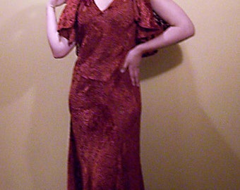 Vintage 1930s Rust Cut Velvet Evening Dress