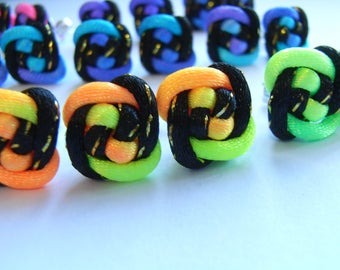 Gift Idea - Souvenir / Unique Party Favor - A Collection of 12 Pairs 925 Silver Rainbow Chinese Knot Earring - FREE SHIPPING