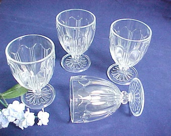 1930s Colonial Knife & Fork 5 Oz. Clear Footed Tumblers by Anchor Hocking, Set of Depression Glass Crystal Juice Glasses, Kitchen Glassware