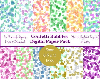 Confetti Sprinkles Digital Paper, 8.5 x 11 Inch, 12 Printable Designs, Scrapbooking, Card Making, Instant Download