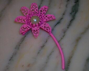 """Vintage Pink Enameled Pearl Brooch, """"Pink Flower Power"""""""