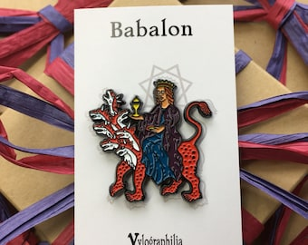 Babalon riding the Beast enamel pin