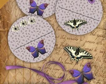 Purple Delight Bookplates/Labels Printable Stationary Crafts Scrapbooking Butterflies Original photographs  Instant download