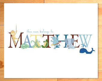 Personalized Kids Art Print, ABC Wall Art, Nursery Art, Animas Alphabet Name, monogram, baby gift, custom print