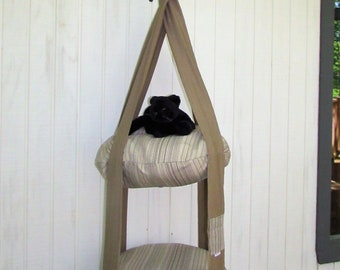 Outdoor Cat Tree, Tan & Shades of Brown Stripe, 2 Level Kitty Cloud Cat Bed, Hanging Cat Bed, Pet Furniture, Cat Tree, Catio Furniture
