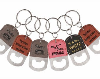 Wedding Party Favors - Gifts for Groomsmen - Bridesmaid - Bottle Opener Key chains - Personalized Keychains - Bridal Party Gift