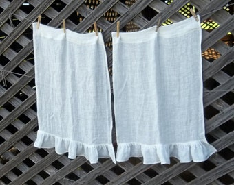 Ruffled Curtains Linen Café Curtains White Linen Curtains Custom Sizes Fabrics Ruffled Linen Curtains French Country Cottage Style
