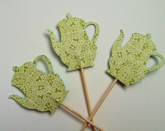 Tea - Green Lace Teapot/Coffee pot Cupcake Toppers - Set of 12
