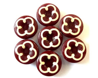 6 Vintage buttons plastic white flower on unique red brown, 15mm