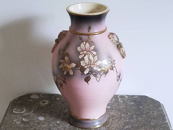 Lovely extra Large vintage mid century hand painted floral pink grey gold porcelain ceramic floor vase urn / eared ring doorknocker handles