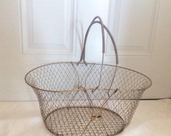 Large Vintage Gold Metal Wire Basket, Collapsible Basket, Egg Basket