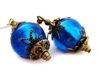 GOTHIC sapphire blue venetian glass earrings, big beads, fantasy elven earrings, victorian and vintage style