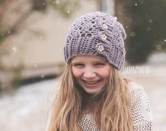 Button slouchy hat, Button hat, Slouch hat, slouchy hat, winter hat, ladies hat, girls hat, womens hat, Slouchy, Textured hat, Flower hat