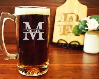 Engraved Beer Mug, Groomsmen Beer Mug, Beer Mug for Groomsman, Split Letter Monogram, Beer Mug Initials, Bachelor Party Beer Steins