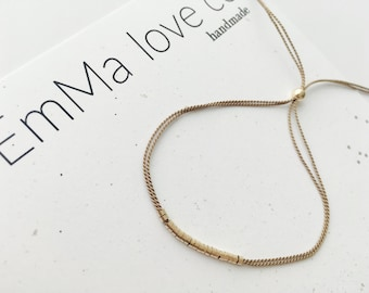 Gold and Silk Bracelet / Everyday jewelry / Stackable Bracelet / Minimalist Bracelet