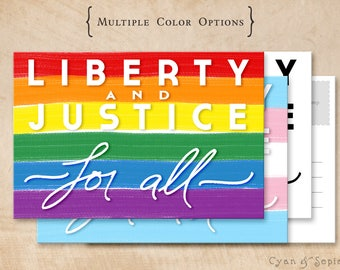 Printable Postcard - Liberty Flags - 4x6 Print Your Own - Political America LGBTQ Civil Rights Donation