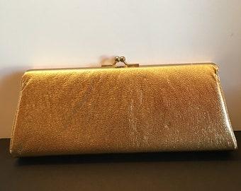 P B USA Purse ~ Gold Metallic~ Evening Bag ~ Clutch ~ Small Purse ~ Vintage