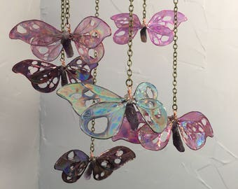 Butterfly Mobile, Hanging Ornament, Boho Chic, Home Decor, Crystal Butterflies, Crystal Healing, Dragonflies, Boho Style, Luna Moth