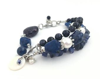 Adjustable Blue Sandstone Multistrand Bracelet, Semiprecious Jewelry, Stone Bracelet, Pearl Bracelet, Layered Bracelet, 13783BC