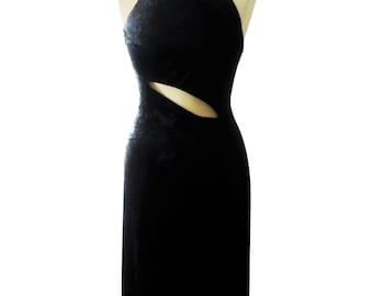 women gift Black jersey velvet long evening dress