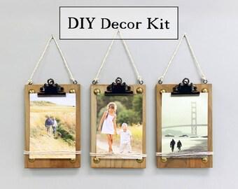DIY Photo Display Three Wood Clipboards Kit