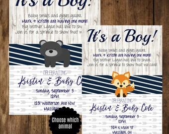 Baby Sprinkle Invitation, Boy Baby Shower Invitation, Boy Sprinkle Invitation, Navy and Gray Shower Invitation, Printable Invitation, Blue